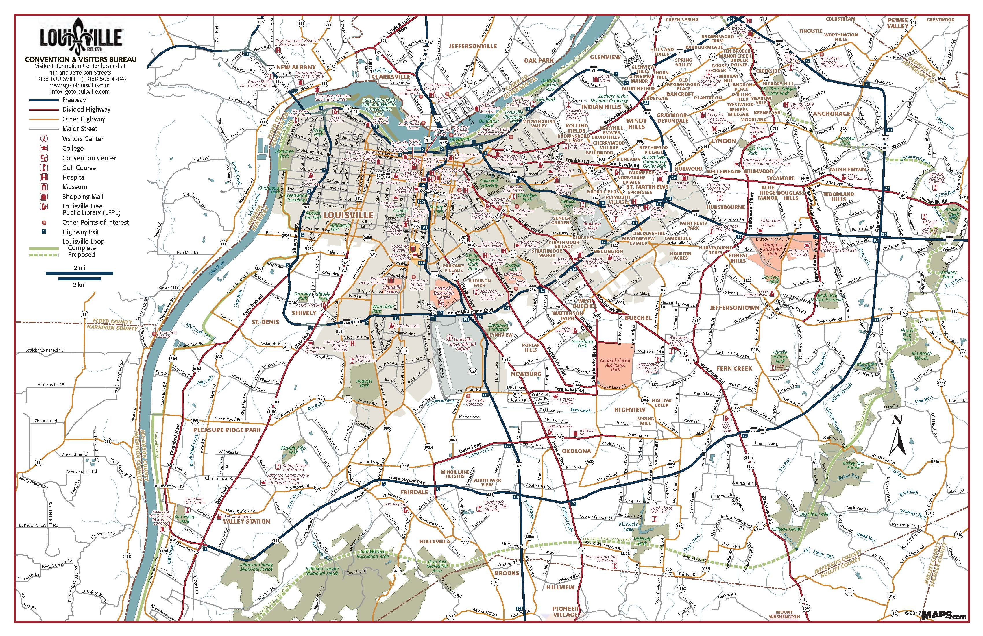 Map Of Louisville Ky Gotolouisvillecom Official Travel Source - Us-road-maps-for-sale