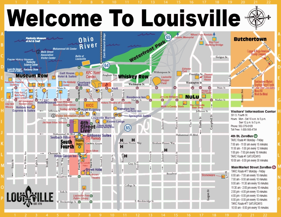 Map of louisville ky gotolouisville official travel source downtown map sciox Image collections