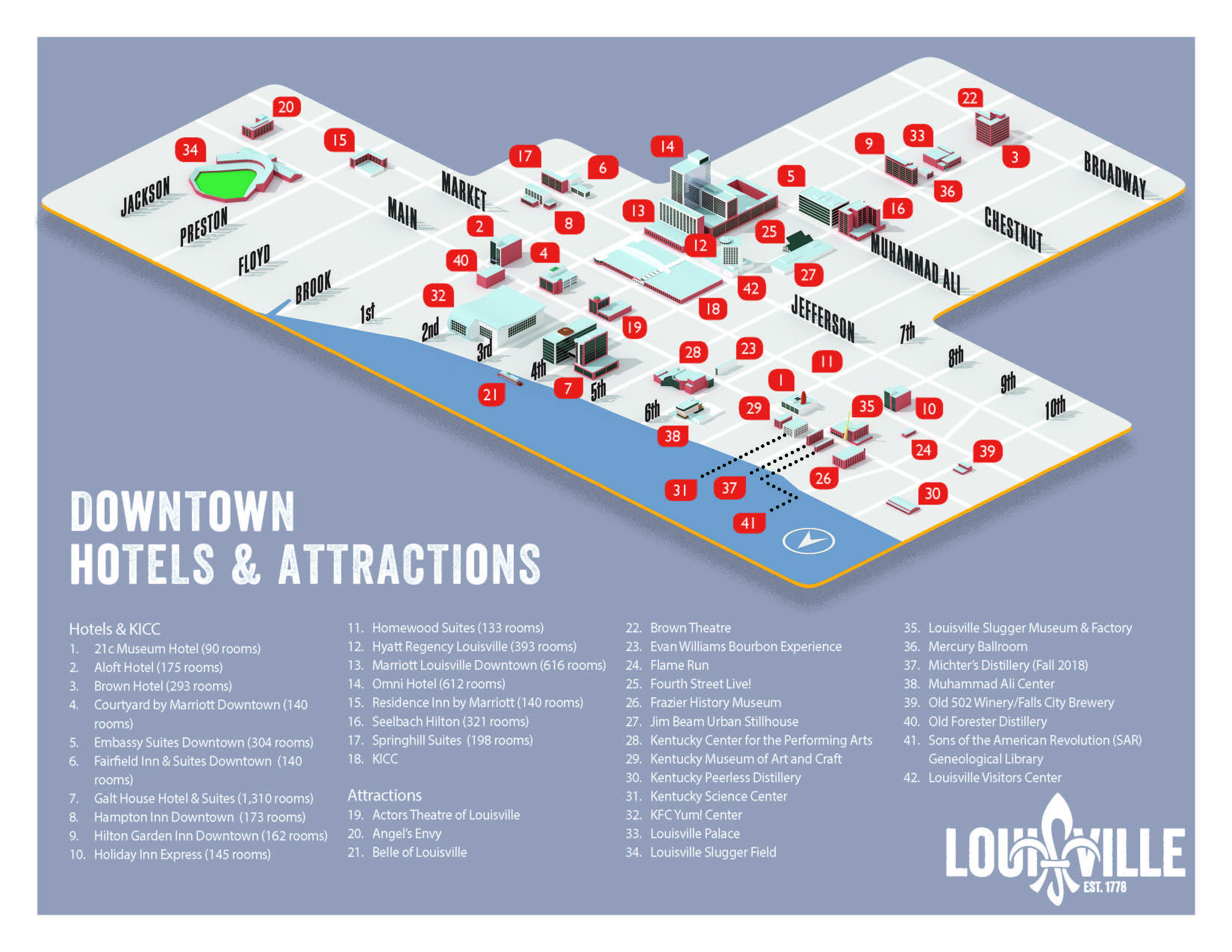 Louisville Kentucky Map Map of Louisville KY : GoToLouisville.Official Travel Source